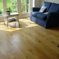 Solid 'selected' English Oak 100mm-200mm wide. Finished with Hardwax Oil