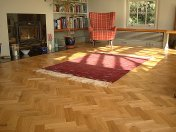Character Oak Block in a herringbone pattern with a two block border. Finished with Hardwax Oil - Photo 8 of 20