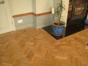 Character Oak Block in a herringbone pattern with a two block border. Finished with Hardwax Oil - Photo 10 of 20