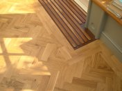 Character Oak Block in a herringbone pattern with a two block border. Finished with Hardwax Oil - Photo 13 of 20