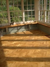 Character Oak Block in a herringbone pattern with a two block border. Finished with Hardwax Oil - Photo 12 of 20
