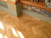Character Oak Block in a herringbone pattern with a two block border. Finished with Hardwax Oil - Photo 7 of 20