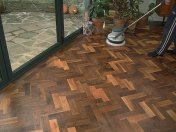 Character Walnut block floor in herringbone pattern. Finished with Hardwax Oil. Photos taken during refurbishment after - Photo 4 of 10