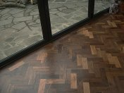 Character Walnut block floor in herringbone pattern. Finished with Hardwax Oil. Photos taken during refurbishment after - Photo 6 of 10