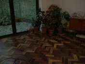 Character Walnut block floor in herringbone pattern. Finished with Hardwax Oil. Photos taken during refurbishment after - Photo 9 of 10