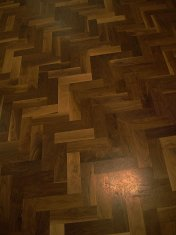 Character Walnut block floor in herringbone pattern. Finished with Hardwax Oil. Photos taken during refurbishment after - Photo 10 of 10