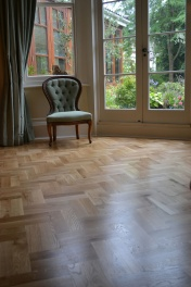 Oak block floor laid in a double herringbone pattern with a two block border and finished with Hardwax Oil - Photo 2 of 20
