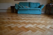 Oak block floor laid in a double herringbone pattern with a two block border and finished with Hardwax Oil - Photo 4 of 20