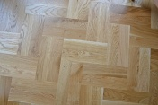 Oak block floor laid in a double herringbone pattern with a two block border and finished with Hardwax Oil - Photo 6 of 20