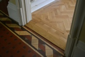 Oak block floor laid in a double herringbone pattern with a two block border and finished with Hardwax Oil - Photo 7 of 20