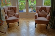 Oak block floor laid in a double herringbone pattern with a two block border and finished with Hardwax Oil - Photo 10 of 20