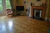 Oak block floor laid in a double herringbone pattern with a two block border and finished with Hardwax Oil - Photo 18 of 20