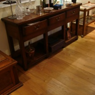 English Character Oak 100mm-200mm wide with Hardwax Oil finish. Photos taken 7 years after laying.