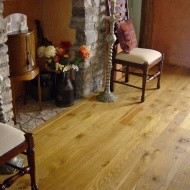 Character Oak floor in a cottage, finished with Hardwax Oil