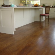 Character Oak engineered board over underfloor heating. Stained and finished with Hardwax Oil on site.