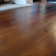Wide Character Oak, 200mm-350mm, screws covered with Oak pellets, finished with Van Dyke stain and Hardwax Oil