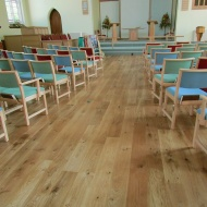 Engineered board laid as a floating floor. Part of an extensive refurbishment of St Andrews church in Devizes. Finished
