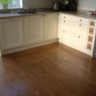 Solid English Character Oak Overlay with hand distressed edges and Van Dyke stain